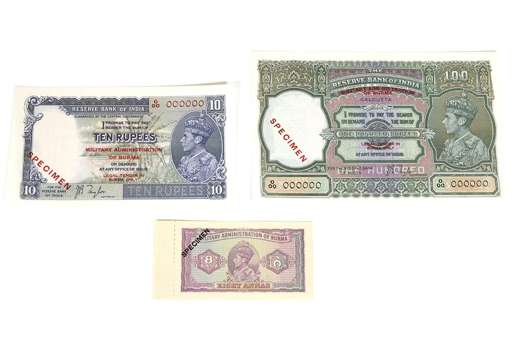 A set of six specimen World War II Burmese banknotes sell
