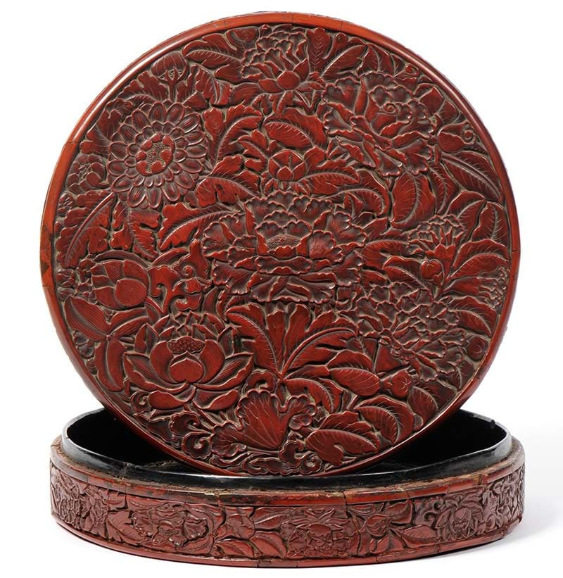 A Chinese Carved Cinnabar Lacquer Floral Box and Cover, probably early Ming Dynasty