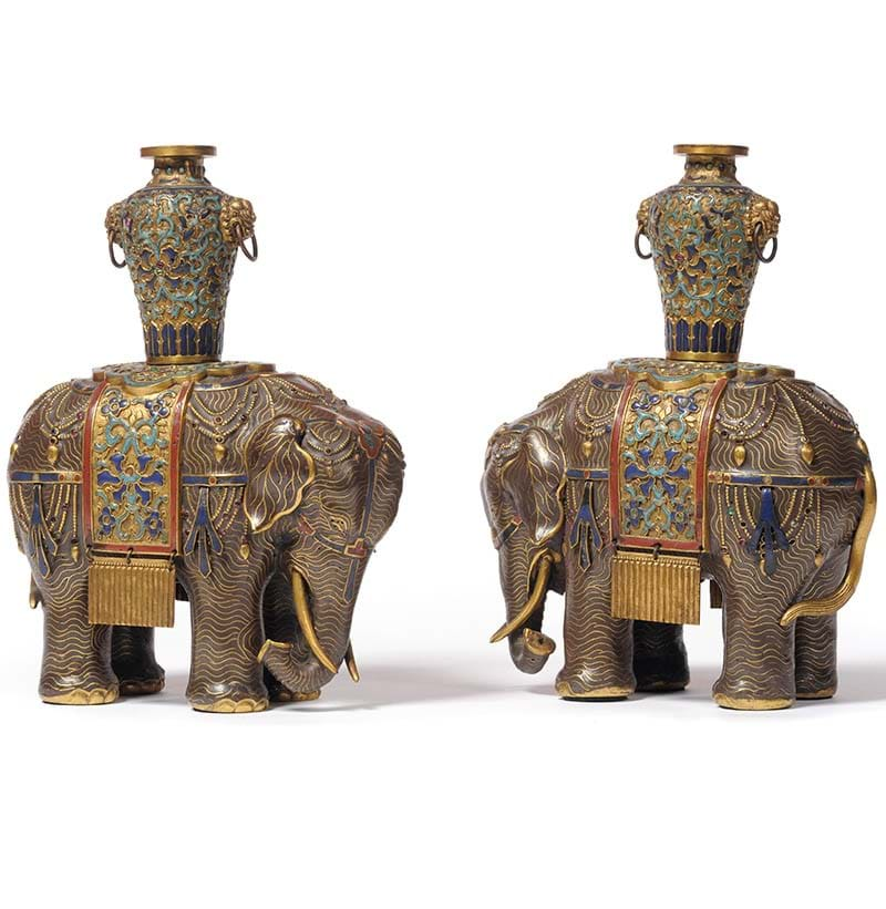 A Pair of Chinese Cloisonné Enamel Elephants, Qing Dynasty, circa 1800