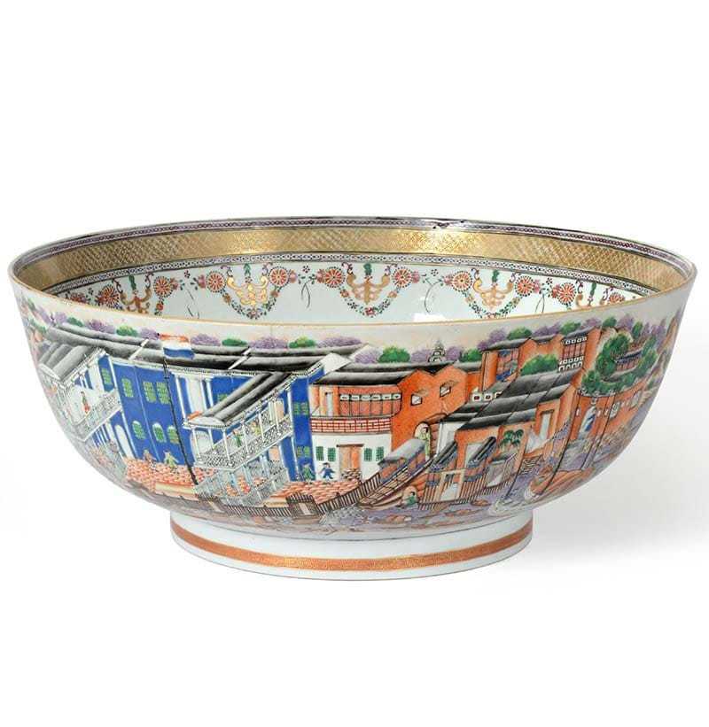 "A Chinese Porcelain ""Hong"" Punch Bowl, circa 1790"