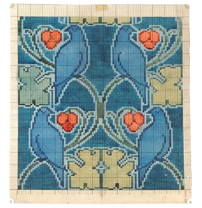 Charles Francis Annesley Voysey (1857-1941): An Archive of Eighty-Five Watercolour Designs and Working Drawings for Tomkinsons Carpets, c.1890s