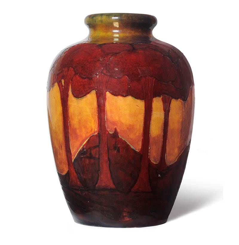 A Monumental William Moorcroft Flambe Eventide Landscape Pattern Vase, 1928