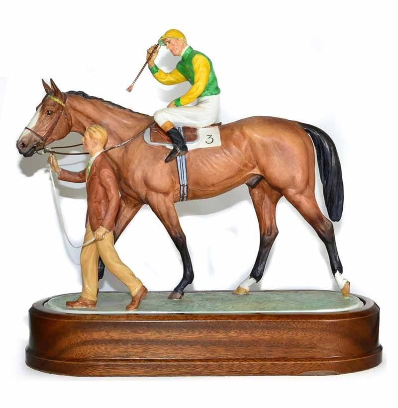 Royal Worcester 'The Winner with Jockey and Stable Boy', model No. RW3667 by Doris Lindner
