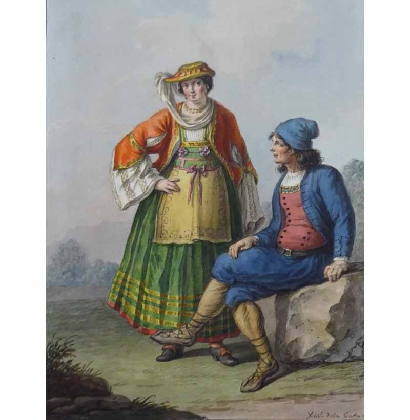 Saviero Xavier Della Gatta (Italian, 1777-1829) Costumi Italiani, c1818, twenty-two mounted illustrations of Italian provincial costumes