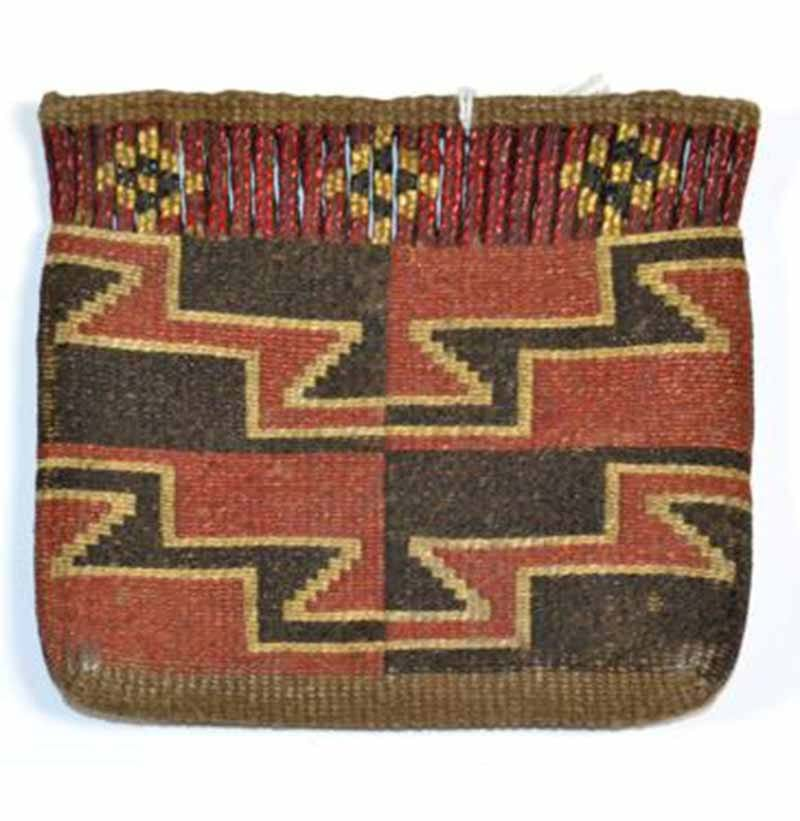 A Native North American Flat Pouch, woven in red, black and white