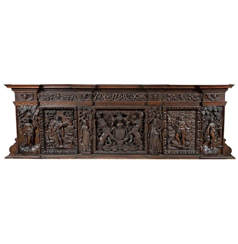 A Rare and Important Carved Oak Overmantel of Large Proportions, attributed to a Newcastle Workshop of Dutch Carvers, circa 1630
