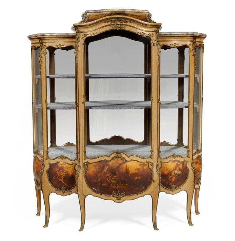 An Impressive Louis XV Vernis Martin Style Rosewood Breakfront Vitrine, late 19th century