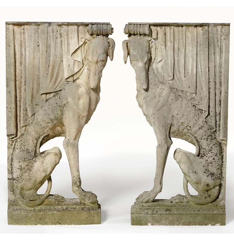 A Pair of Carved White Marble Greyhound Form Furniture Supports, late 18th/early 19th century