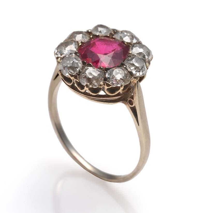 A Ruby and Diamond Cluster Ring, circa 1900