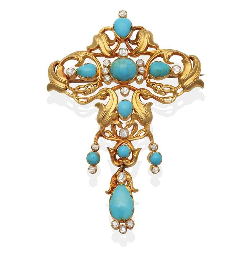 Royal Interest, a Turquoise and Diamond Brooch