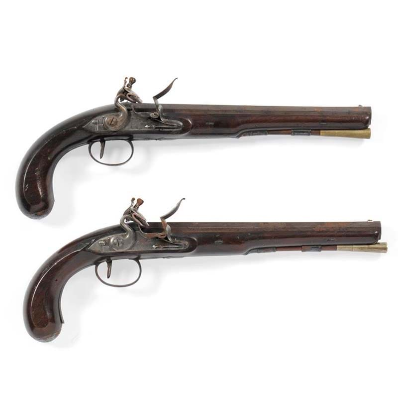 A Pair of Late 18th Century Flintlock Officer's/Duelling Pistols by Robert Wogdon of London