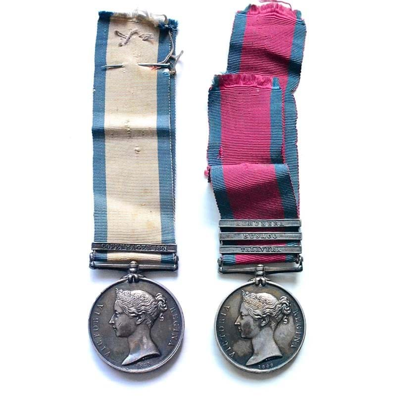 A Rare Peninsula War Pair, awarded to PATK.CAMPBELL, Able Seaman and later Captain, 48th Regiment of Foot