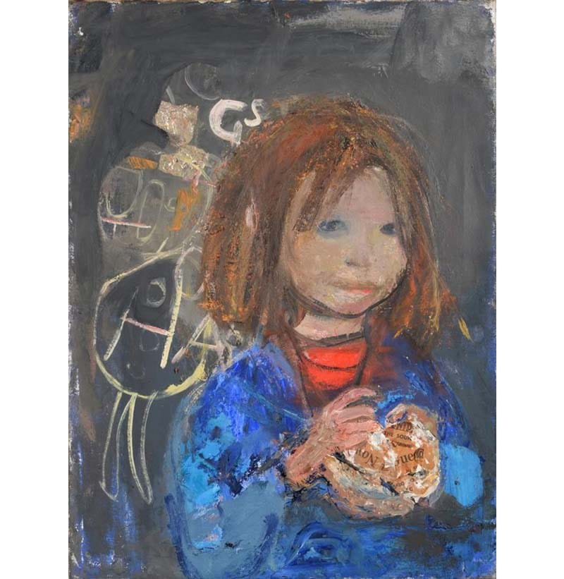 "Joan Kathleen Eardley RSA (1921-1963), ""Girl with a poke of chips"""