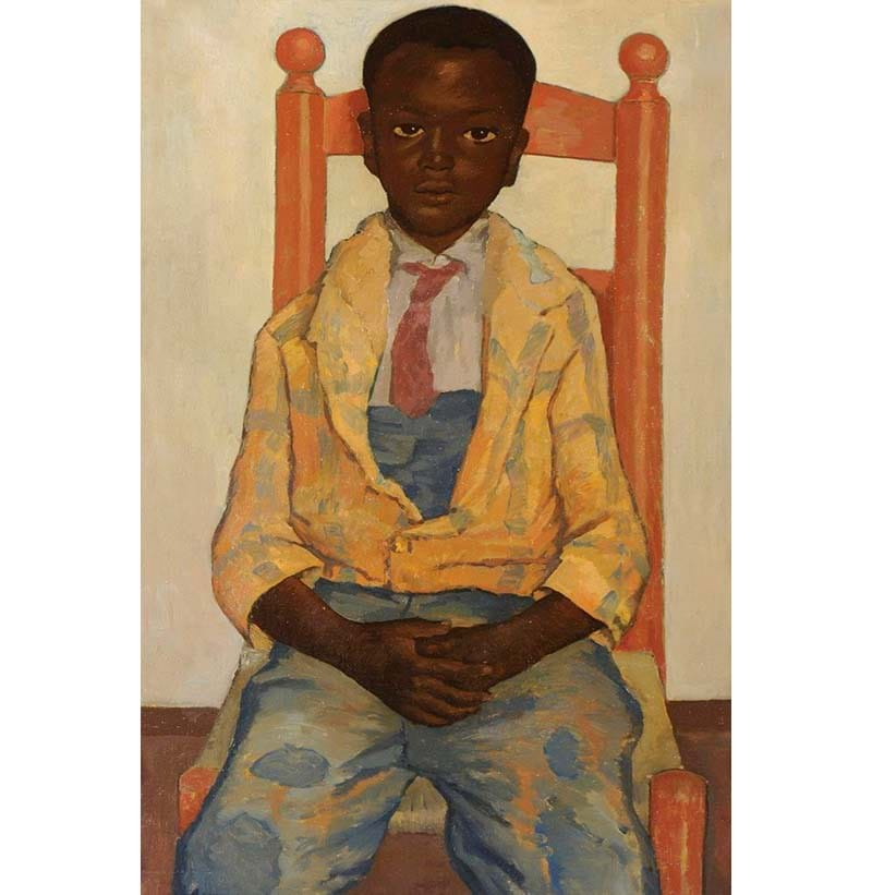 Julian McDonald (20th century) American, 'Portrait of a young black boy, three-quarter length, seated on a chair'