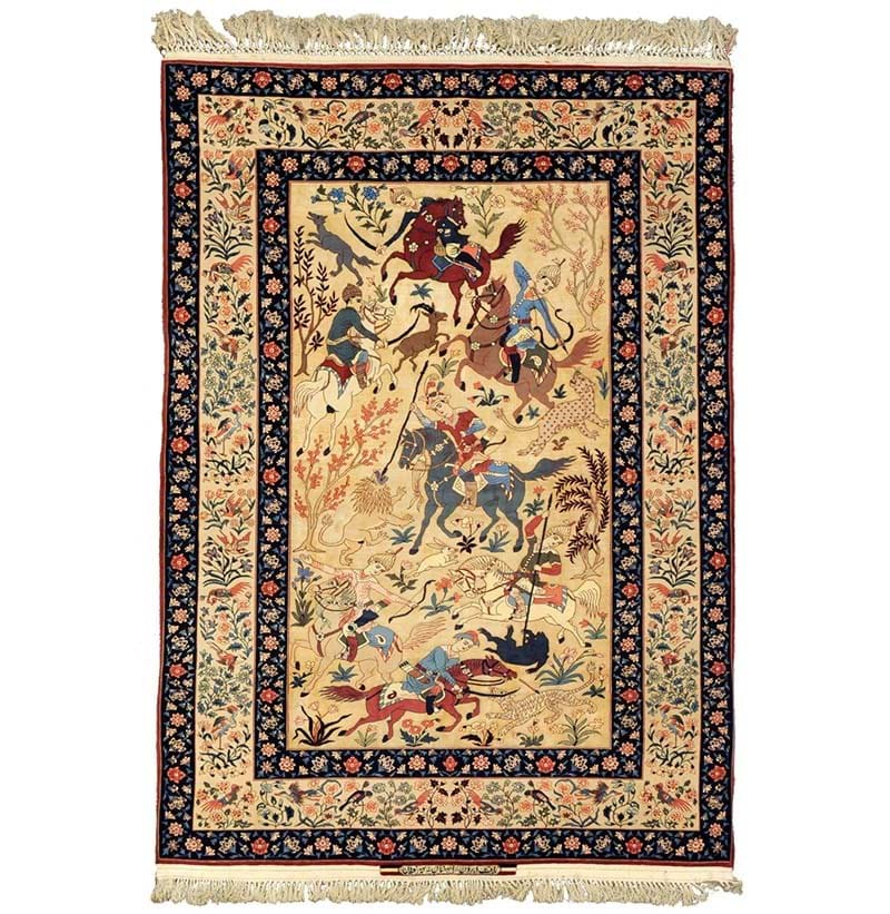 Fine Seirafian Part Silk Rug, Isfahan, Central Persia