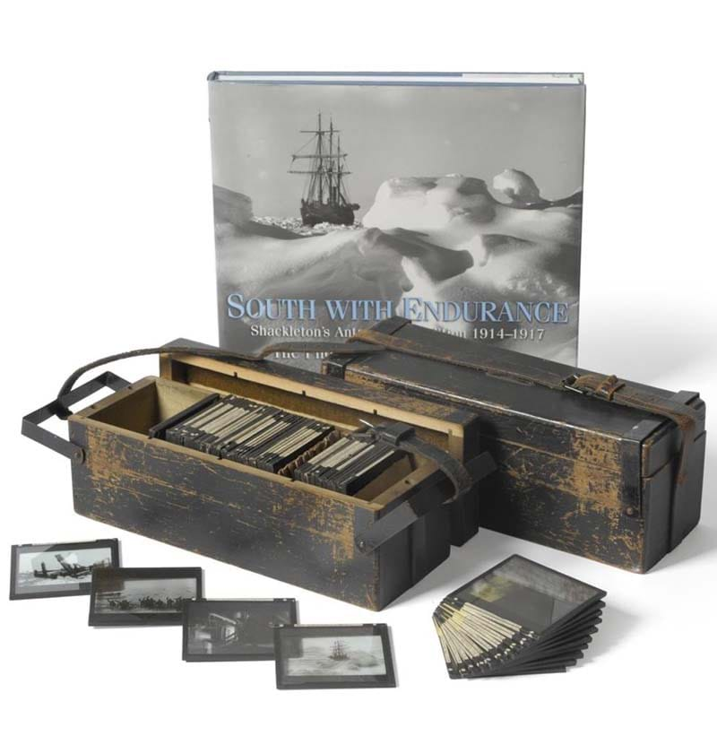 A Set of One Hundred and Thirty Five Real Photographic Magic Lantern Slides Depicting Shackleton's Antarctic Expedition 1914-1917
