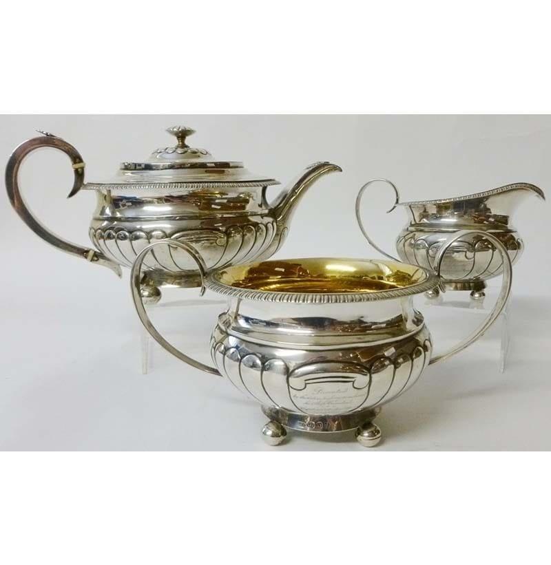 An Important Australian Silver Three Piece Tea Service, Alexander Dick, Sydney