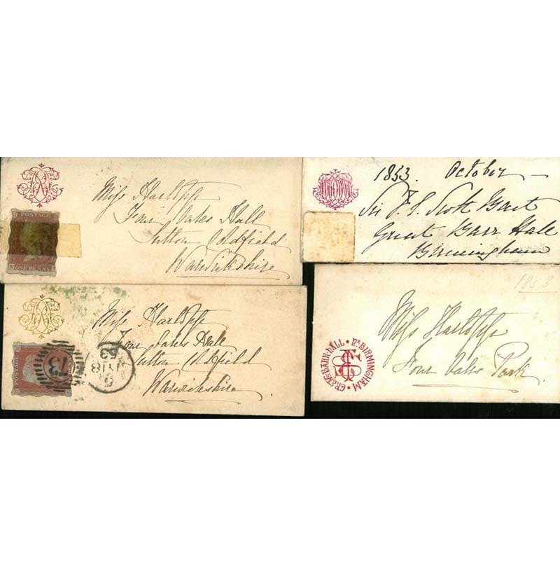 Great Britain. Including an 1853 tiny cover to Sutton Coldfield bearing 1841 1d red Treasury Roulette