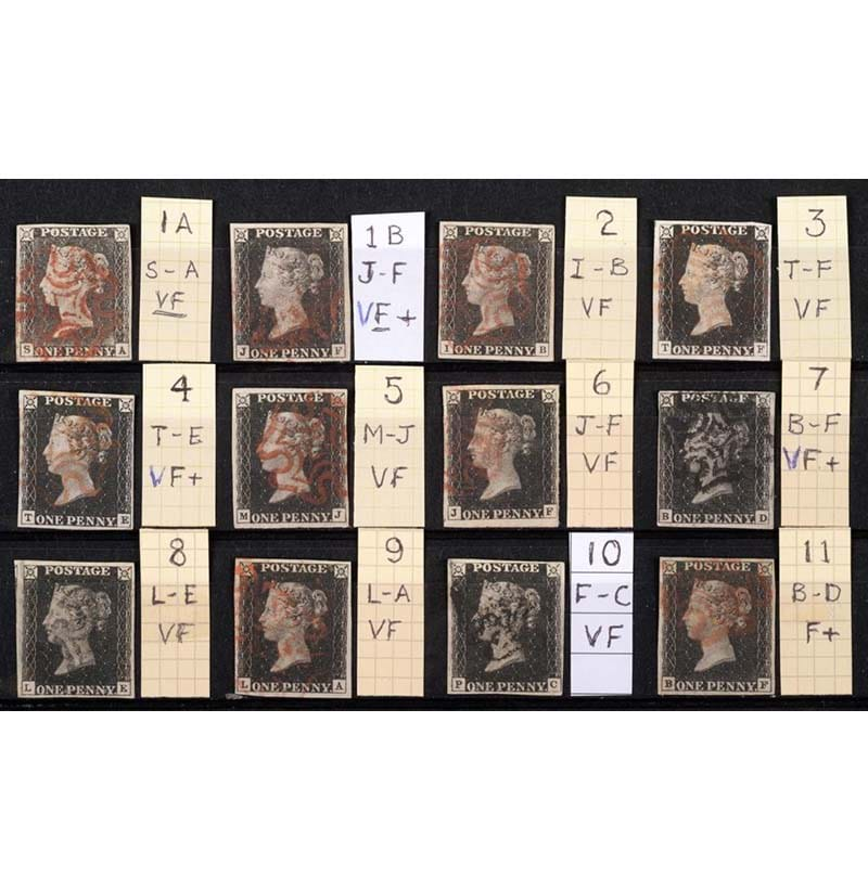 Great Britain. 1840 1d Blacks. A complete set of Plates 1a to 11
