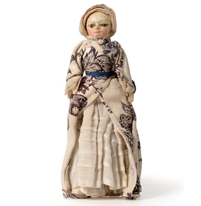 A Late 18th Century Miniature Carved and Painted Wooden Doll