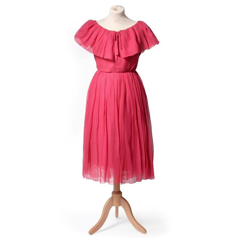 An Yves Saint Laurent for Christian Dior Fuchsia Pink Silk Chiffon Day Dress, 1959