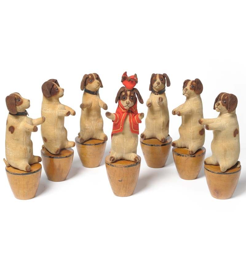 A Rare Part Set of Seven Steiff Dog Skittles