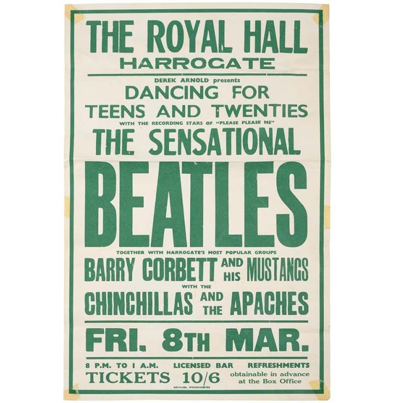 The Beatles Concert Poster For The Royal Hall, Harrogate Friday 8th March 1963