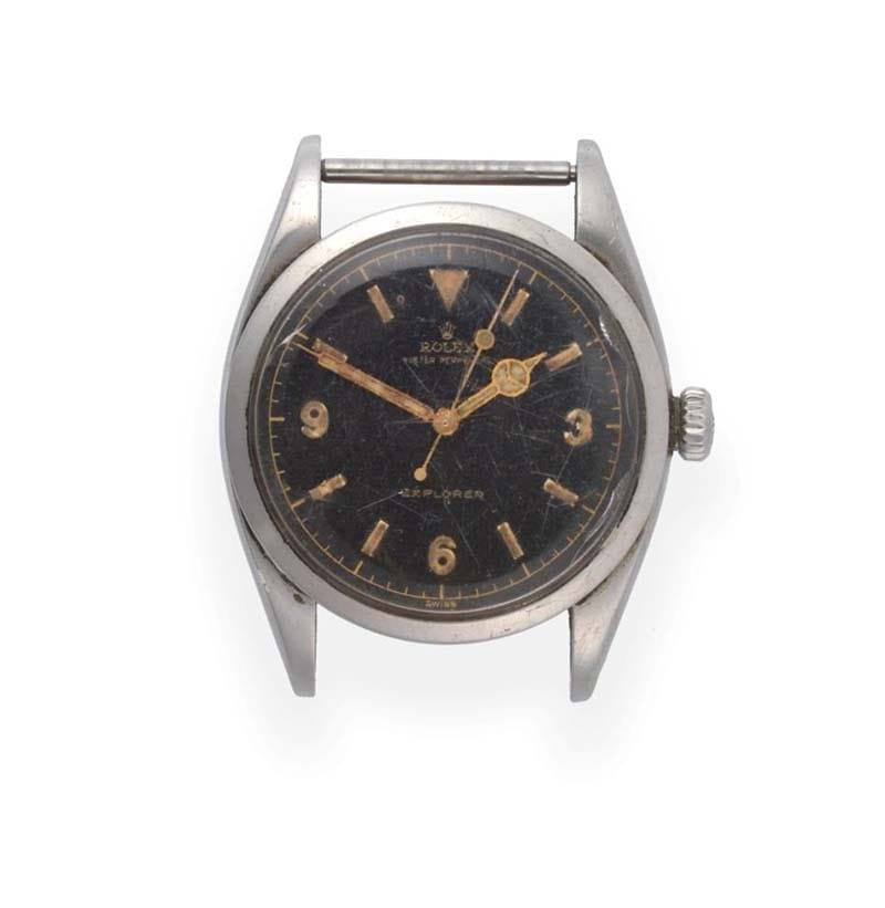 "A Rare and Early ""Explorer"" Stainless Steel Automatic Centre Seconds Wristwatch, signed Rolex, model: Explorer, ref: 6150, 1953"