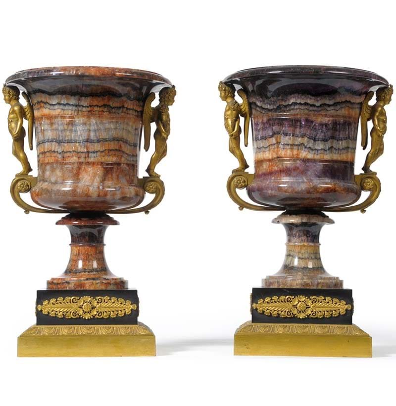 A Pair of Ormolu Mounted Blue John Campana Shaped Pedestal Urns, 19th century, the mounts in the manner of Pierre-Philippe Thomire