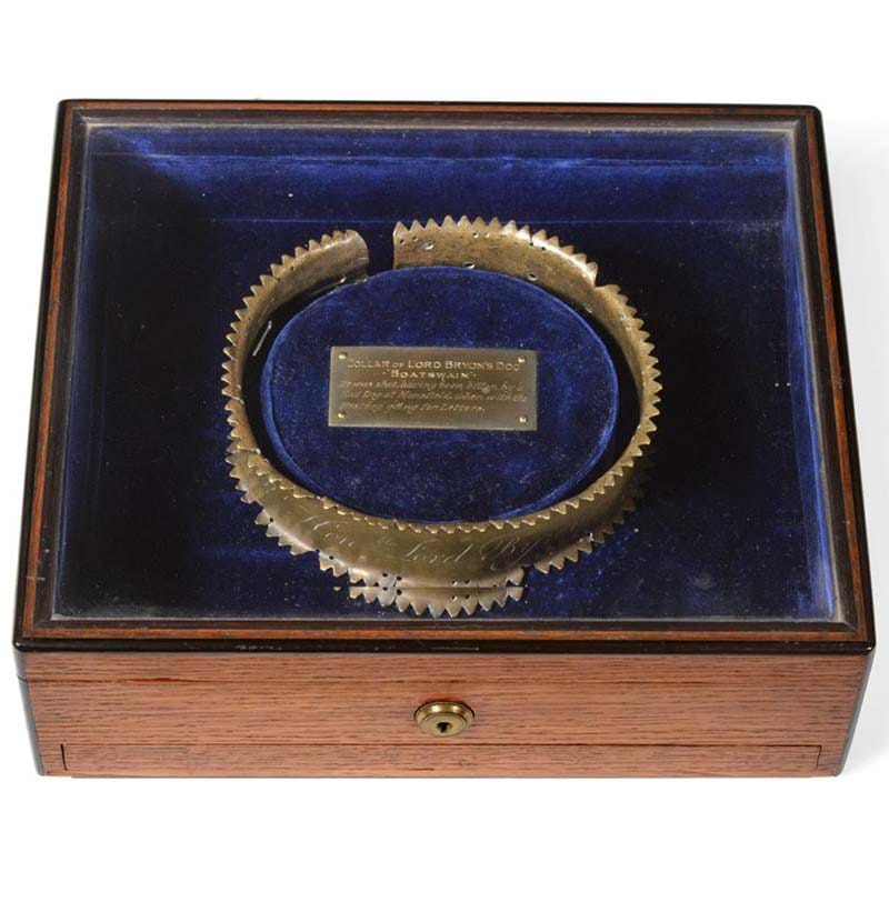 Lord Byron Interest (George Gordon Byron, 6th Baron Byron, 1788-1824): The Collar of His Favourite Newfoundland Dog 'Boatswain' (d.1808)