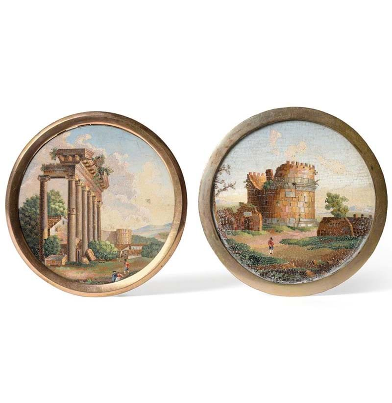 A Pair of Roman Micro-Mosaic Circular Plaques, early 19th century