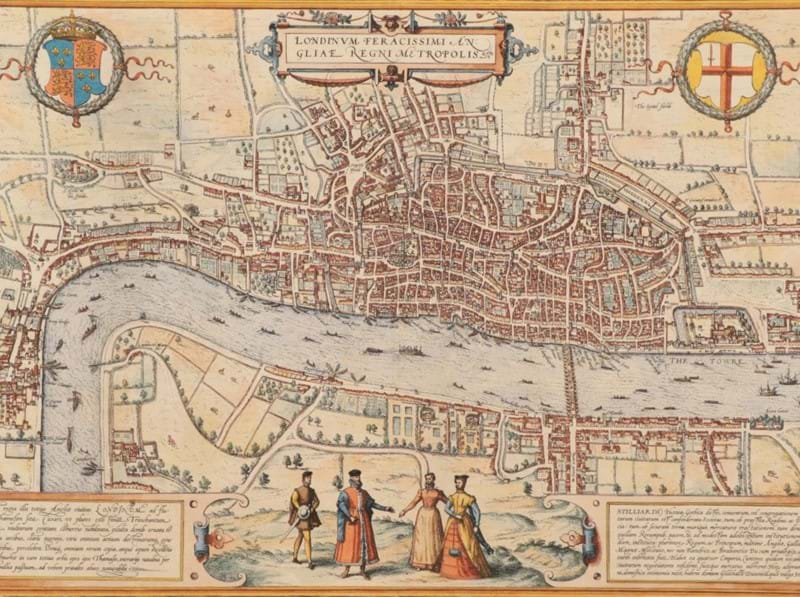 An example of the earliest town plan of London amongst early maps at auction