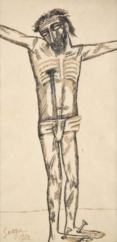 "Francis Newton Souza (1924-2002) Indian ""Crucifixion of Christ"" Signed and dated 1952, ink, 30cm by 15cm"