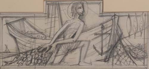 John Skelton MBE (1923-1999)  'Christ the fisherman', Pencil, 10cm by 22cm