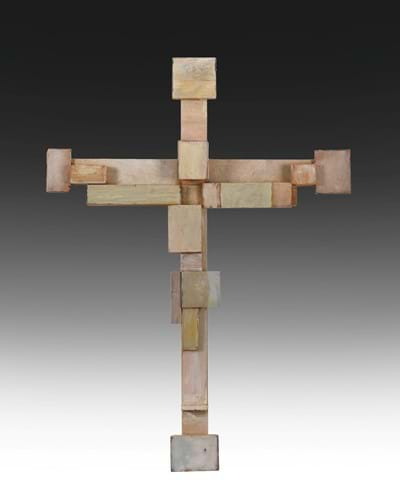 Michael Finn (1921-2002) Constructed Cross Signed and dated August 2001 verso, wood, 72.5cm high